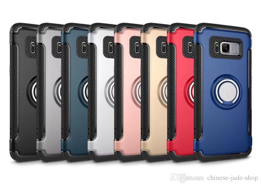 Armadura TPU + PC + suporte de anel de Metal case capa do carro ímã de sucção bainha para iphone 8 6 6 s plus 7 7 8 plus galaxy s8 s8 além de s7 s7 borda 200
