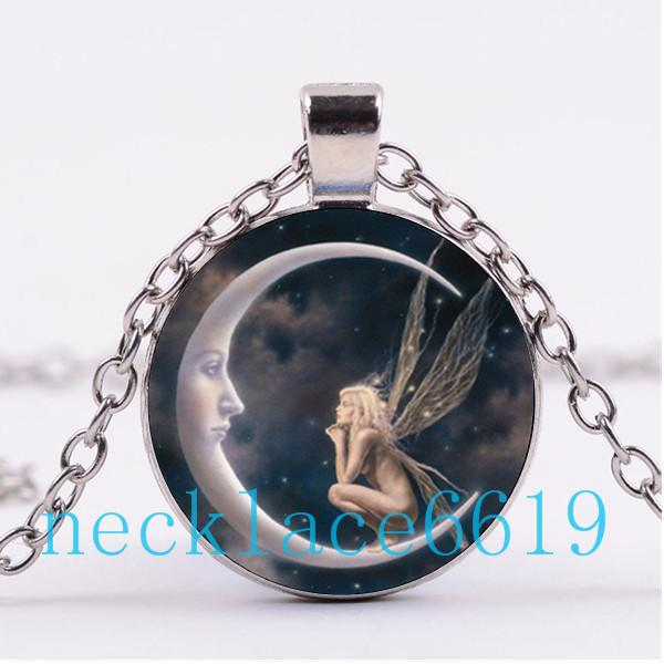 Wholesale moon fairy necklacependantchristmas giftbirthday gift wholesale moon fairy necklacependantchristmas giftbirthday giftcabochon glass necklacesilverblack fashion jewelry r 972 pendants necklaces gold aloadofball Image collections