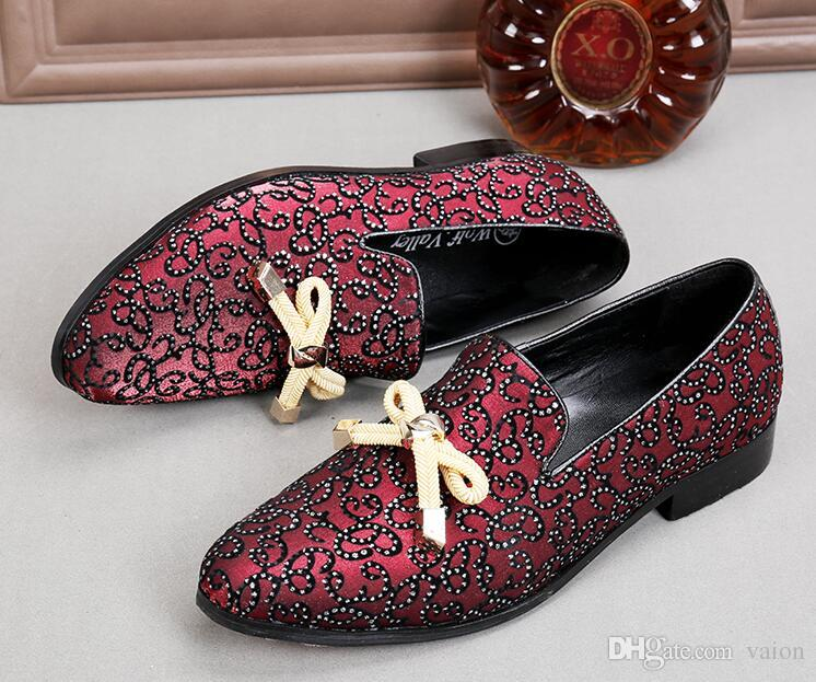 DHL gratuit de luxe hommes rétro motif royal Bowtie chaussures en cuir mariage appartements robe mâle Homecoming prom formelle chaussures plus la taille