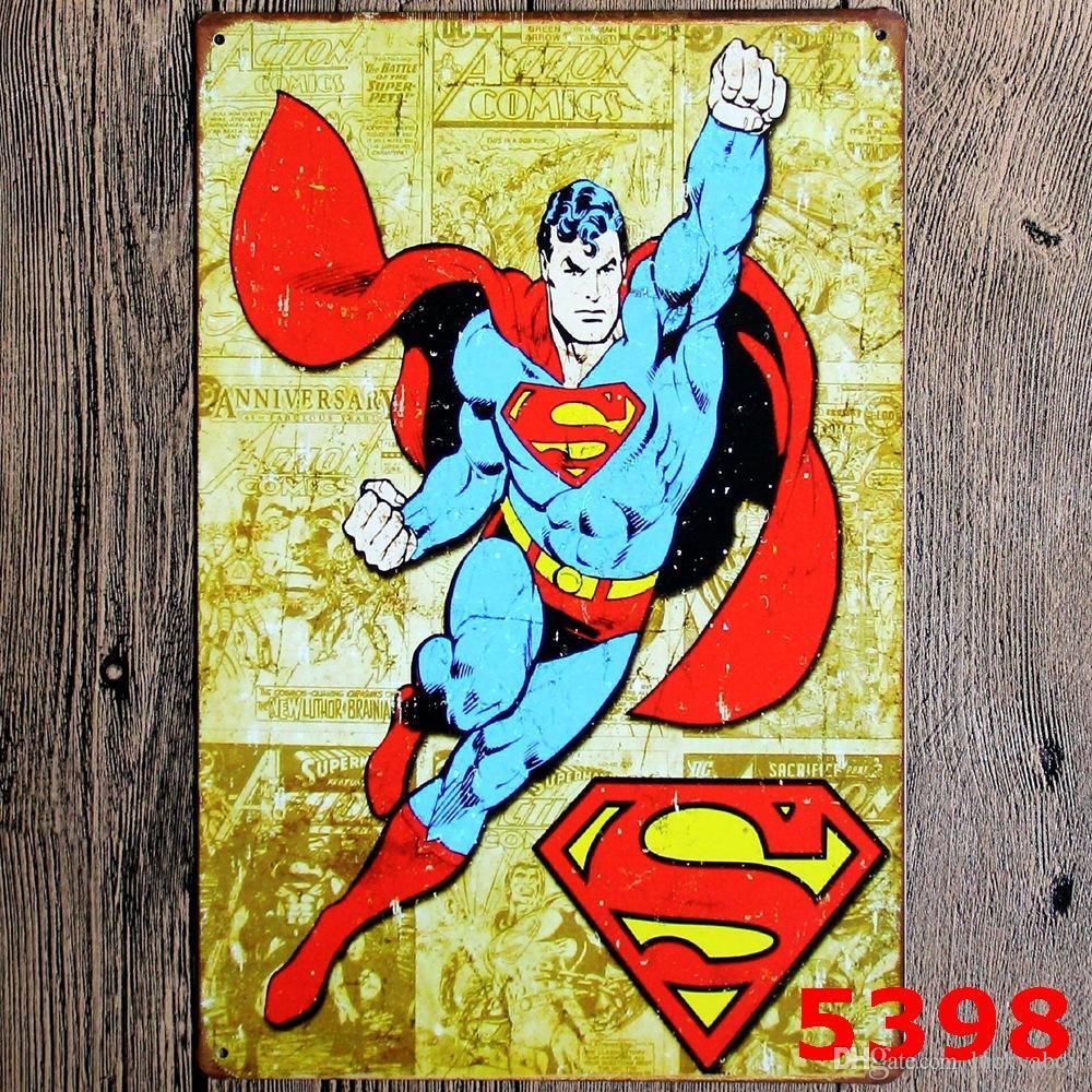Yeni Süper Kahraman Batman Chic Ev Bar Vintage Metal Işaretleri Ev Dekor Bağbozumu Kalay Işaretleri Pub Bağbozumu Dekoratif Tabaklar Metal duvar Karışık tasarımlar