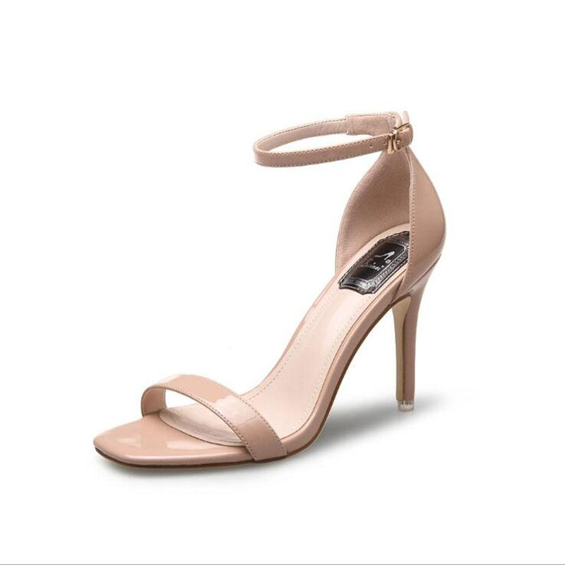 c71f0400075 2017 Concise Nude PU Leather High Heels Sandals Women T Ankle Strap Summer  Dress Shoes Woman Open Toe Sandals Shoe Shop Cute Shoes From Tework