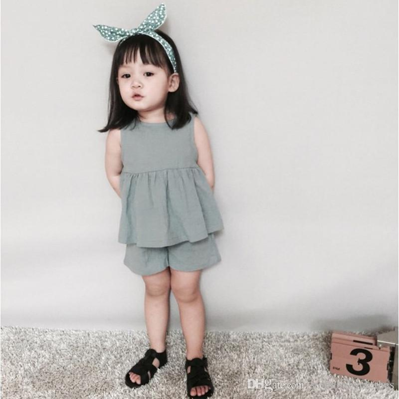 69ebd2084 2019 Fashion Baby Girls Clothes Summer Girls Top Short Outfit Short ...