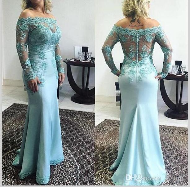 cd51a529b2 2017 Plus Size Blue Lace Mother Of The Bride Dresses Off Shoulder Long  Sleeve Wedding Groom Dresses Formal Wear Evening Party Gowns Mother Of The  Bride ...