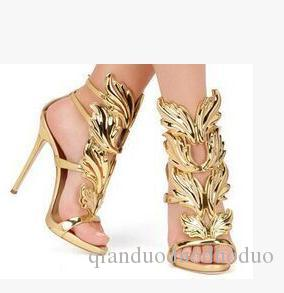 01ea5cde4ab Gold Silver Gladiators Woman Wing Leaf Sandals Summer Shoes Genuine Leather  Wedding Party Shoes Stiletto Buckle High Heels Pumps Brand White Shoes  Silver ...