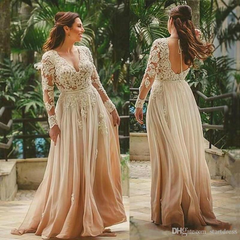 23f3f4255 Elegante gasa madre de la novia viste el vestido de encaje de manga larga  para la novia de la madre de la boda del verano cuello en V profundo  espalda ...