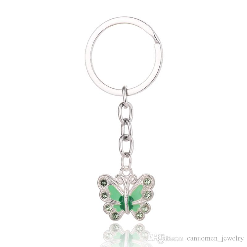 Butterfly Keychain Keyrings Crystal Alloy Vintage DIY Bag Phone Penant Accessories Jewelry Gift Six colors Wholesale