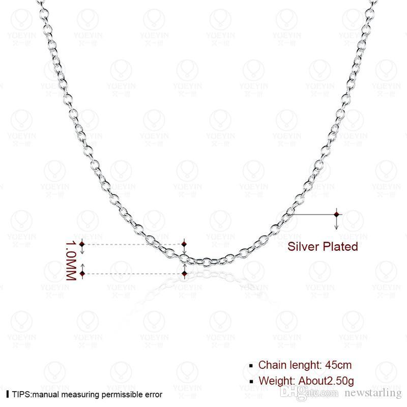 10/Prix le plus bas argent 925 Rolo chaîne bijoux colliers TOP Qualité 1mm Argent 925 18 pouces Lien Chaînes Accessoires