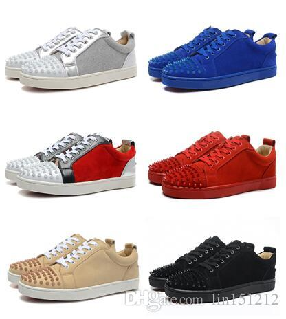 ec09cc9be34 2017 Sneakers Spikes Red Bottom Luxury Designer Flat Casual Shoes Men Women  Low Top Red Sole Studded Blue Black Studs Rivet Male Shoes White Mountain  Shoes ...