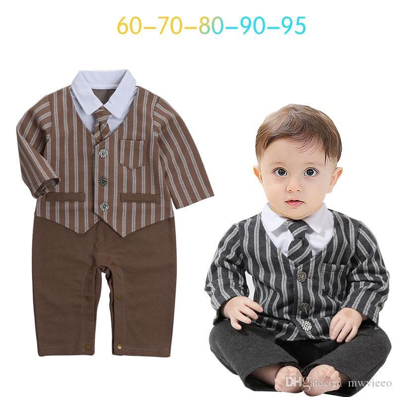 9db6edd0fe Ins Babys Boys Romper Stripe Kids Clothing 2017 New Autumn Winter ...