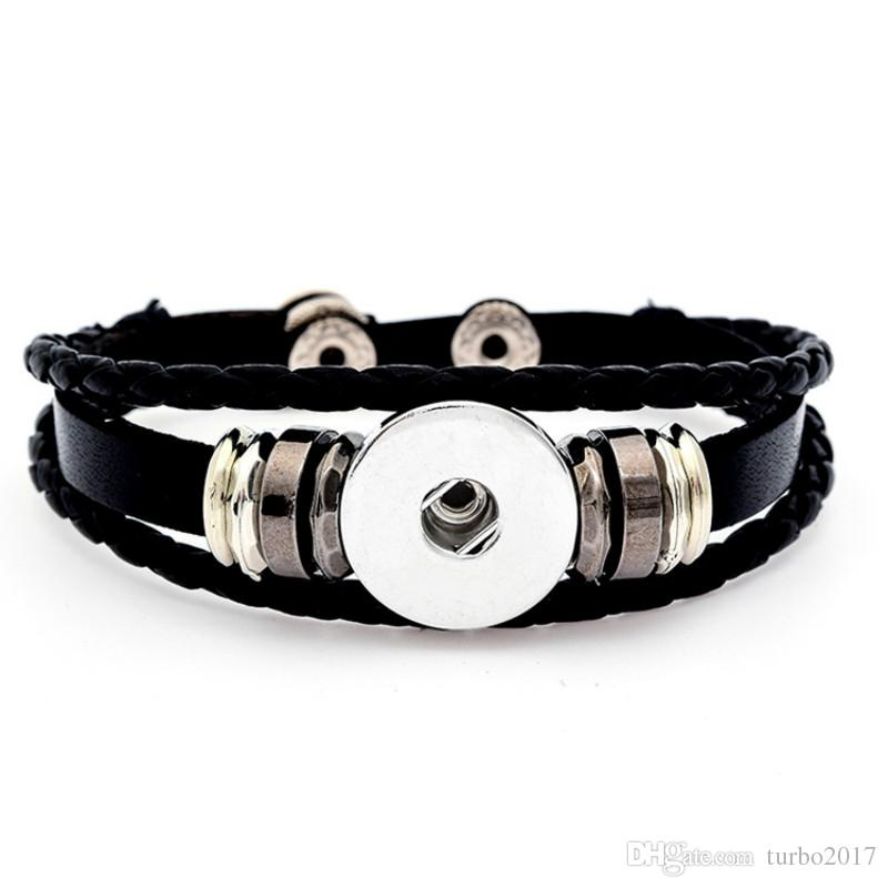 Noosa Leather Snaps Bracelet For Women Snap Buttons Bracelets Fit 18MM Button DIY Ginger Snap Jewelry