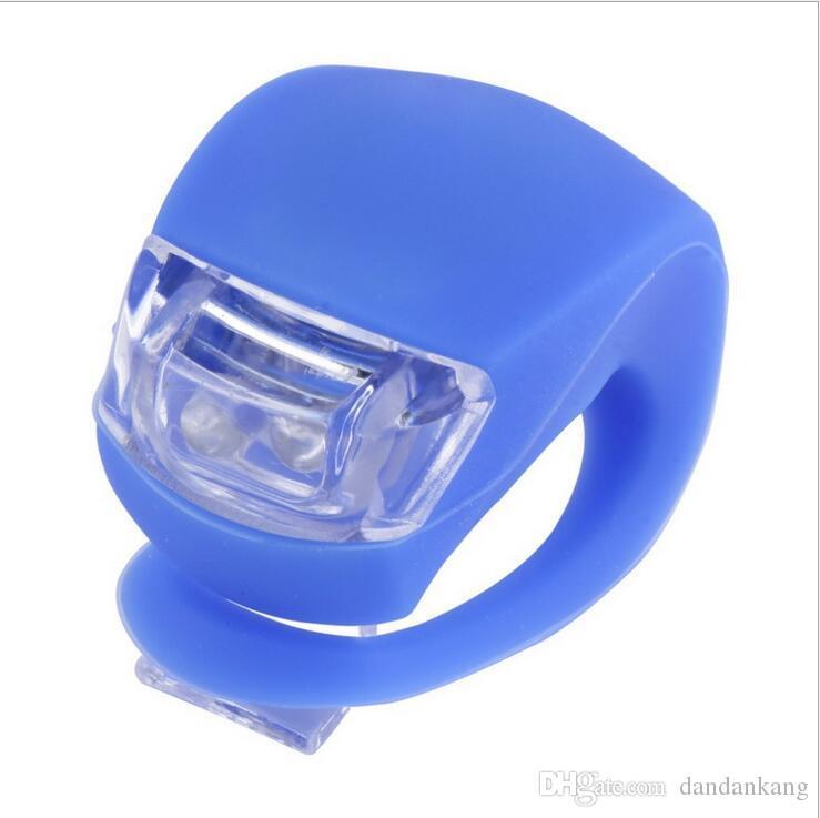 la venta de la rueda trasera de frente Cabeza de silicona resistente al agua luz de la bici bicicleta de ciclo del flash de luz LED de seguridad para bicicleta enciende la lámpara caliente de la batería AG10
