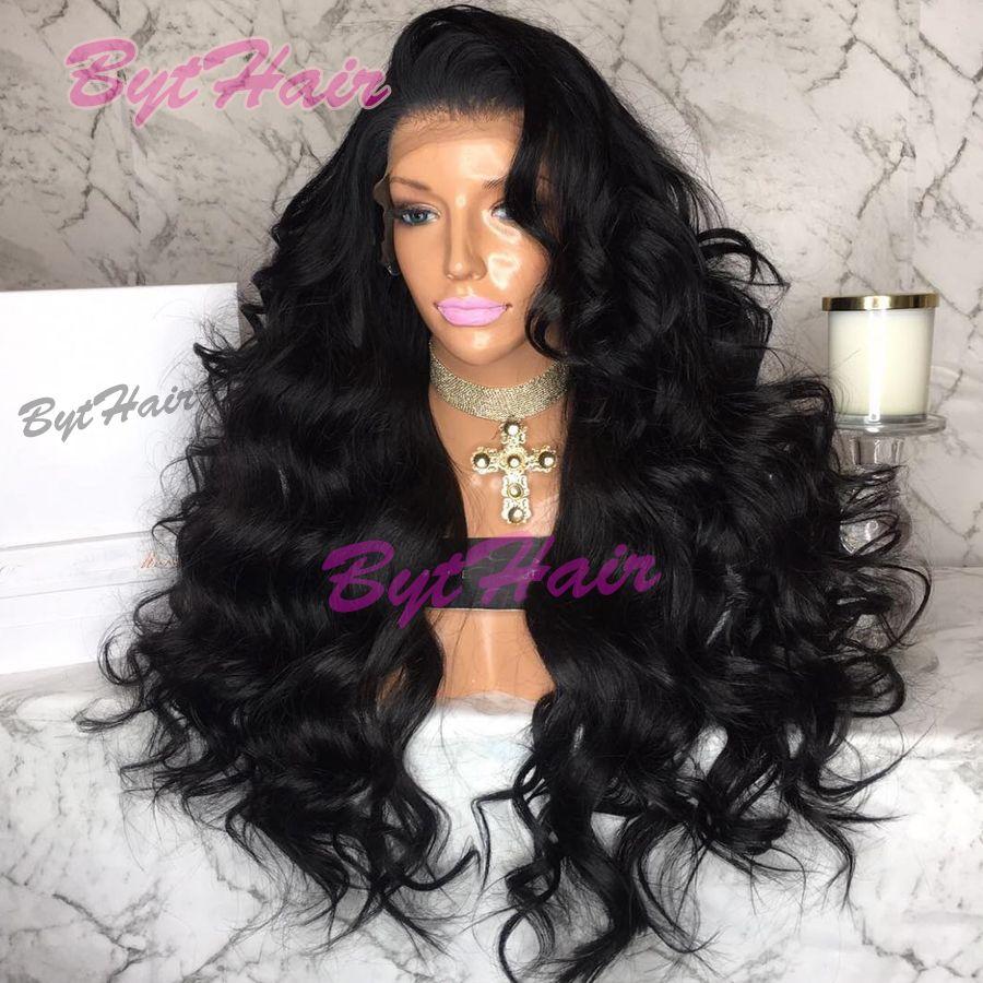 Bythair Heißer Verkauf 180% Dichte Wellenförmige Spitzefront Menschliches Haar Perücken Für Schwarze Frauen Natürliche Haaransatz Volle Spitzeperücke Mit Dem Babyhaar