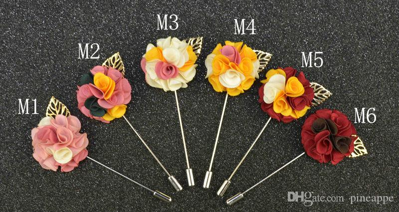 Fashion Men Brooch Flower Lapel pin suit Boutonniere fabric yarn pin button metal Leaves Broochers for male Groomsmen wedding gift wholesale