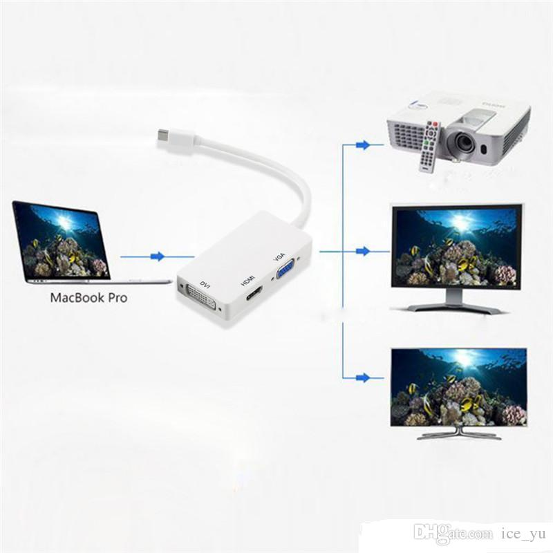 3 in 1 Thunderbolt Port Mini Displayport HDMI DVI VGA Display Port Adapter Cable for Mac Macbook Air iMac Microsoft Surface Pro