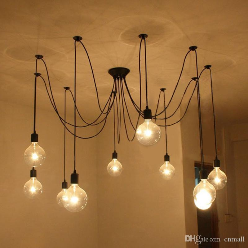 Edison Design Pendant Light DIY RH Loft American Country Industrial Edison Vintage Ceiling Lamps Home Chandelier Light Spider Pendent Lamps
