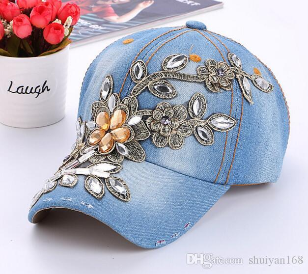 Womens Snapback Caps Rhinestone Flower Fitted Baseball Cap Wholesale Summer Lady Denim Hats Brand New Fashion Hip Hop Cap Sun Hat