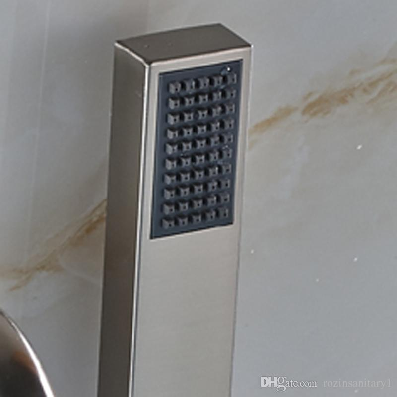 Groß- und Kleinhandel Wasserfall Badezimmer Badewanne Wasserhahn einzigen Griff Wand montiert gebürstet Nickel Messing Mischbatterie