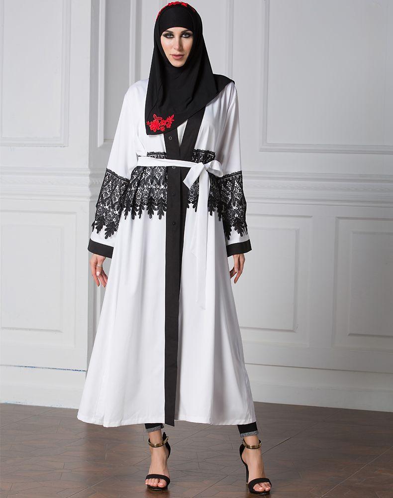 Muslim Women Black & White Long Sleeve Cardigan Robe Full Sleeve ...
