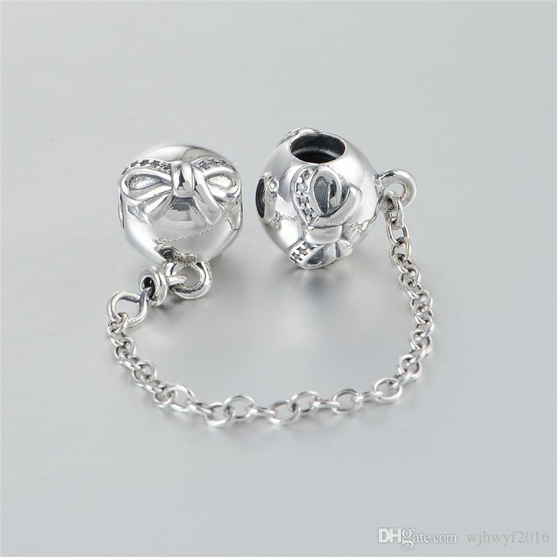 Bow Safety Chain Charms Beads 100% 925 Sterling-Silver-Jewelry Clear CZ Bowknot Bead DIY Charm Bracelets Bangles Accessories HB657