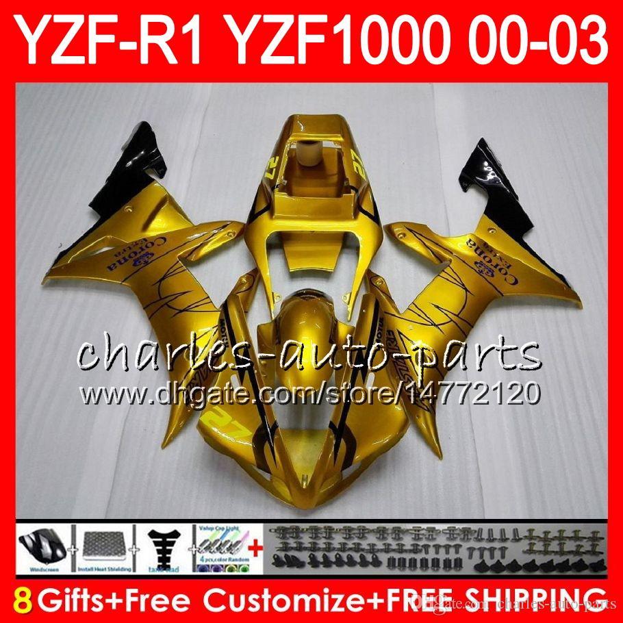 8Gift Cuerpo para YAMAHA YZF R1 YZF 1000 YZFR1 02 03 00 01 62HM15 oro brillante YZF1000 R 1 YZF-R1000 YZF-R1 2002 2003 2000 2001 Carenado