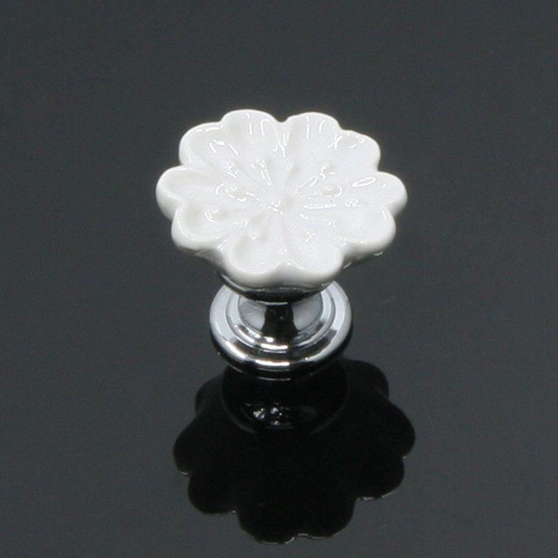 Ceramic Colorful Flower Cabinet Pulls Unique Kitchen Door Handle Knob Drawer Dresser Handle Pulls 7 Colors