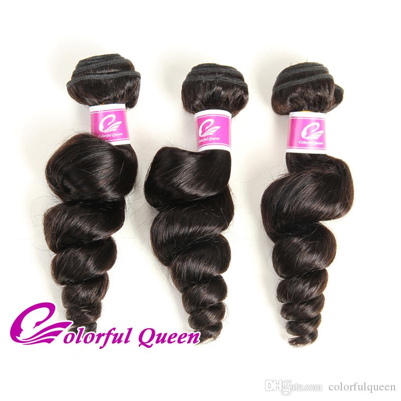 7A Grade Raw Indian Virgin Hair Loose Wave 300g Loose Curly Hair Weave Bundles Natural Black Indian Curly Hair Extensions 8-26 Inch
