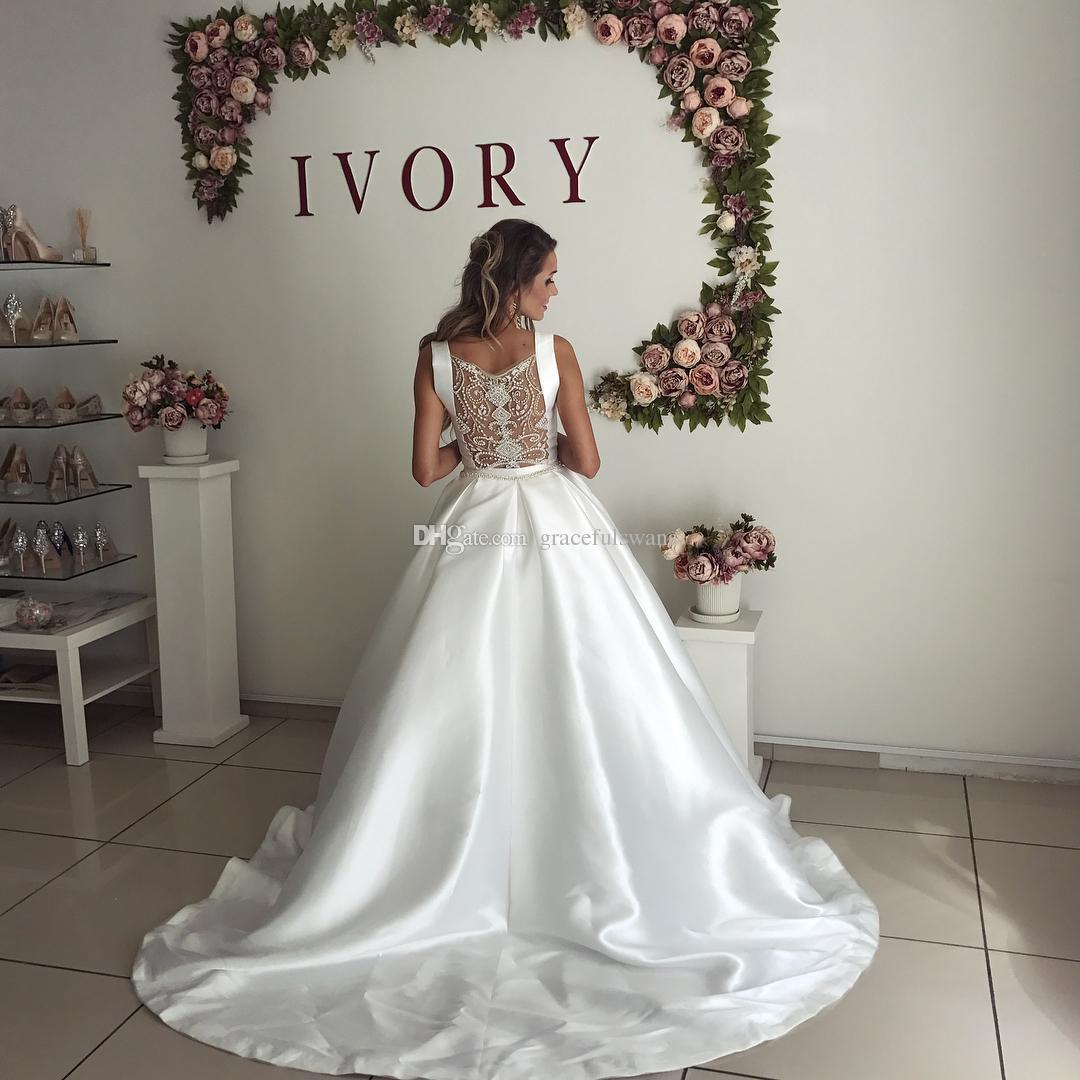 Scoop A-Line Простые атласные свадебные платья с открытой спиной Потрясающие бисерные роскошные деревенские свадебные платья 2019 Арабское платье невесты robe de mariage