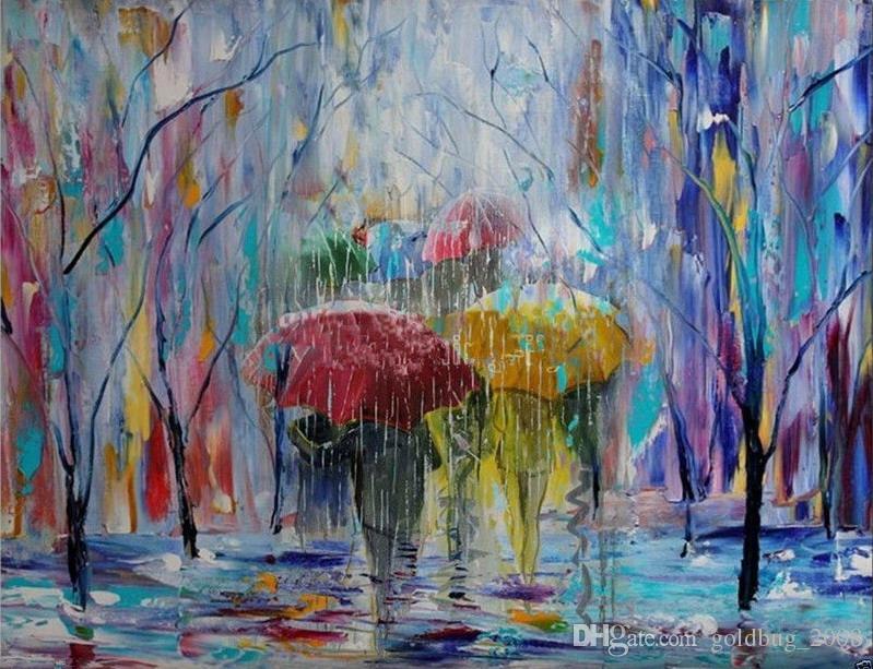 Grande decoração abstrata moderna da parede da lona da arte da estação das chuvas da pintura a óleo não emoldurada
