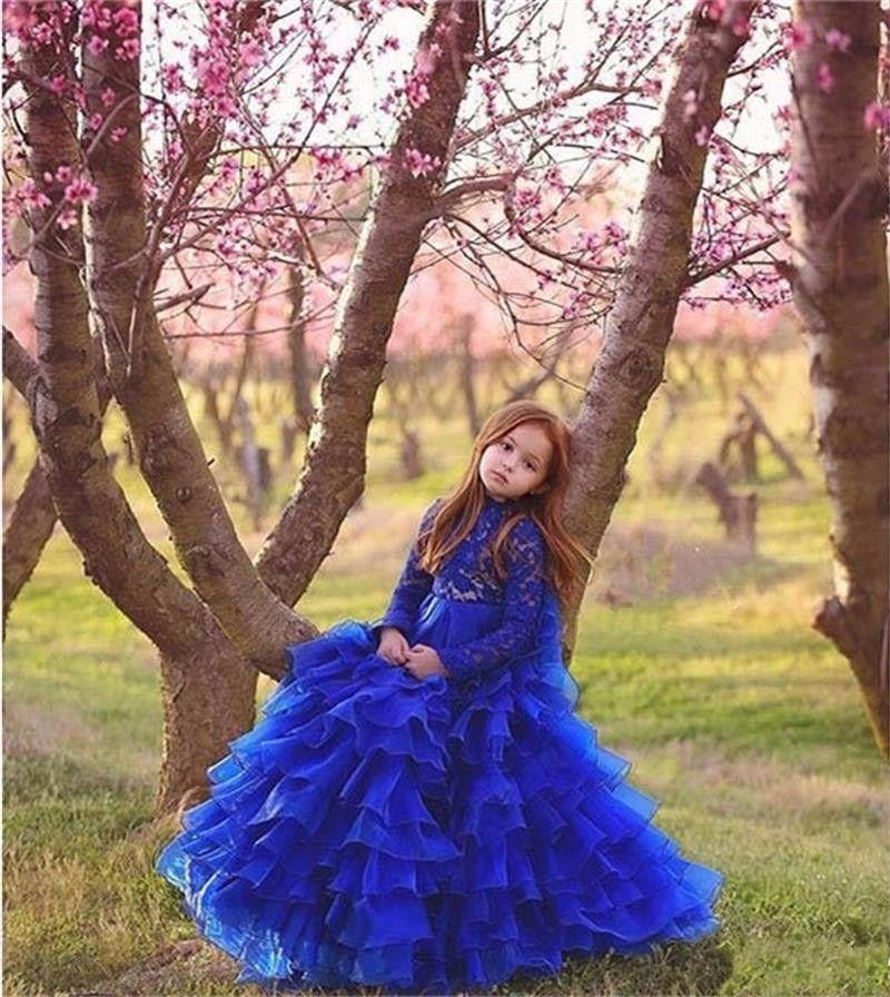 Платье выпускного вечера для детей Vestido Primera Comunion 2019 Девушки Pageant платье длиной до пола, королевский синий с длинными рукавами платья девушки цветка бальные платья