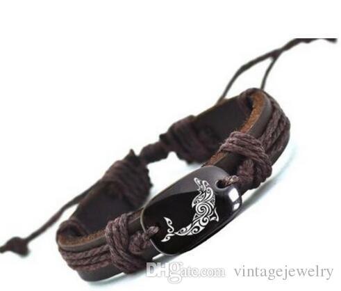 2016 New Listing Dolphin Leather Bracelet Hot Selling Handmade Bracelets for Men YP2684