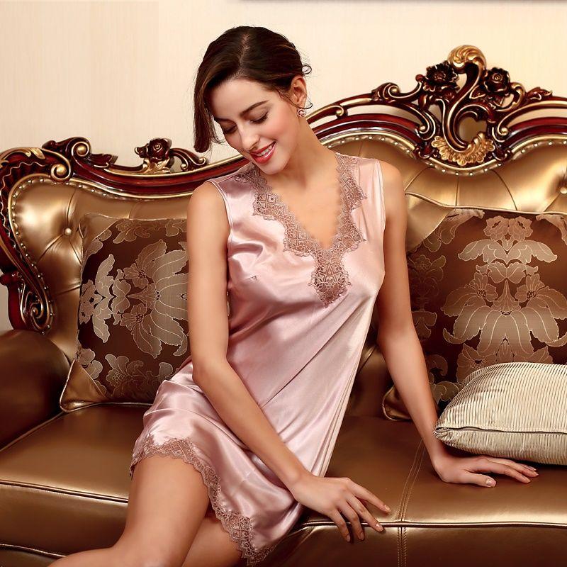 2019 Sexy Lingerie For Women Satin Sleepwear Nightgown Silk Chemise Casual Lace  Sleep Wear Nightgowns Sleepshirts Nightdress SJYT36 From Vanessa918 17369bf8d
