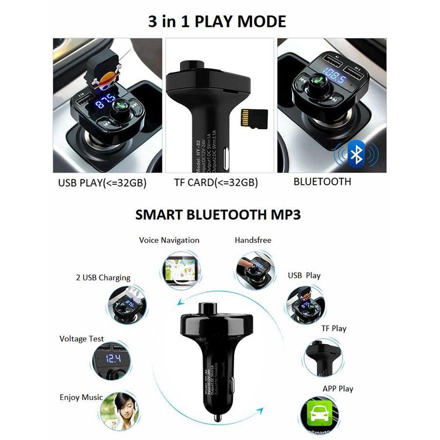 Mains Libres Sans Fil Bluetooth Transmetteur FM Radio Voiture MP4 Modulateur Lecteur de Musique Chargeur USB TF LED Double USB chargeur