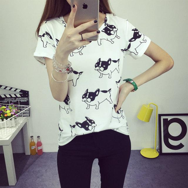 Compre Al Por Mayor 2016 Verano Coreano Perro Loco Camiseta De Moda Femme  Ropa Para Mujeres Camisetas Femeninas Tumblr Poleras Camisetas Mujer  Camiseta A ... f6a63e65aea69