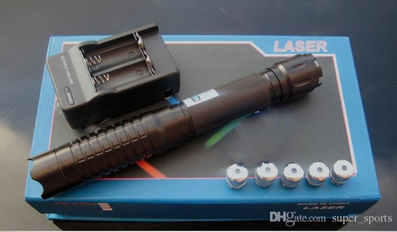 445nm 450nm Adjustable Focus High Power Blue Laser Pointer Pen Powerful Paper Wood 5 Star Caps+Charger+Box
