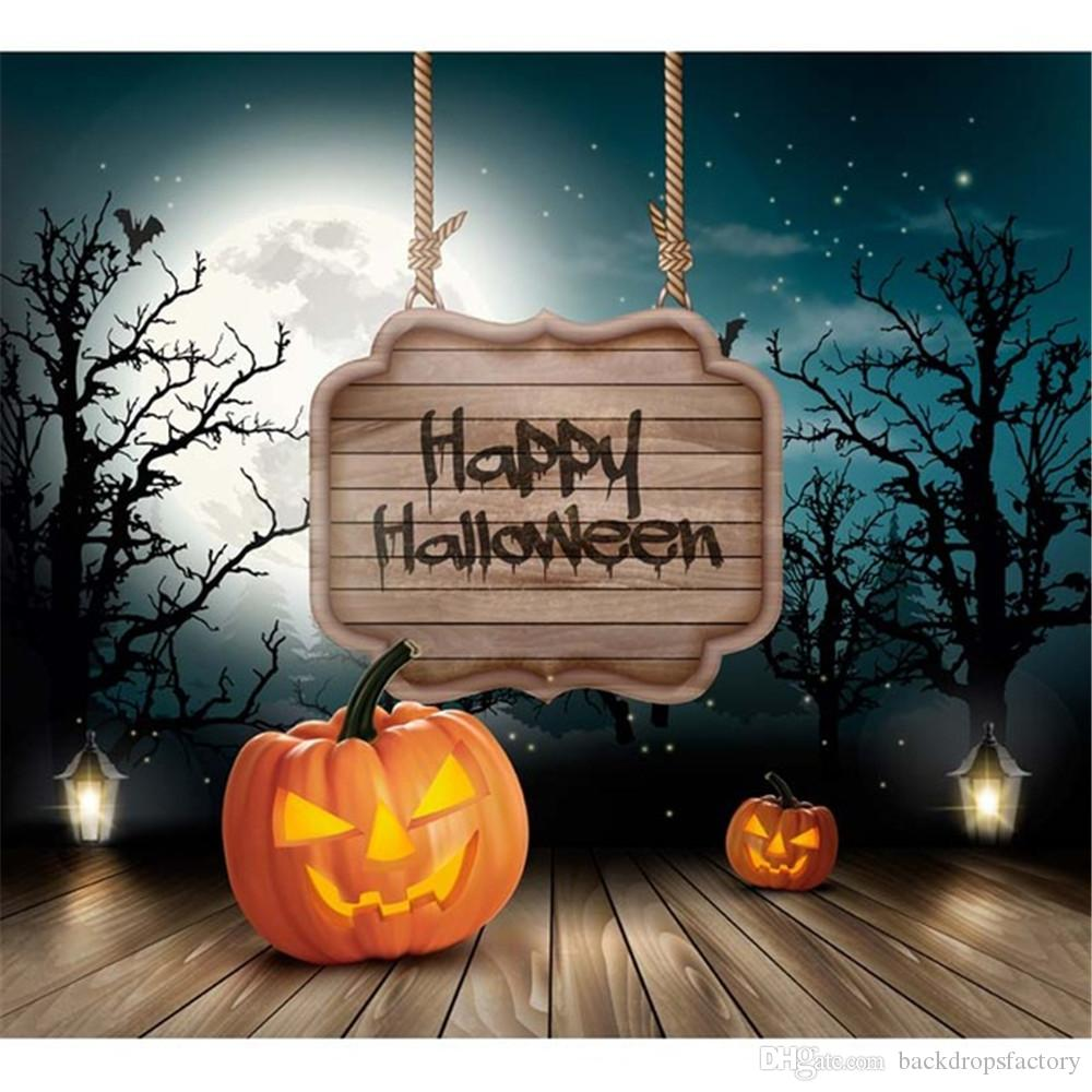 Happy Halloween Photography Backdrops Moon Stars Night Sky Trees Children Party Photo Background Wood Planks Floor Studio Portrait Props
