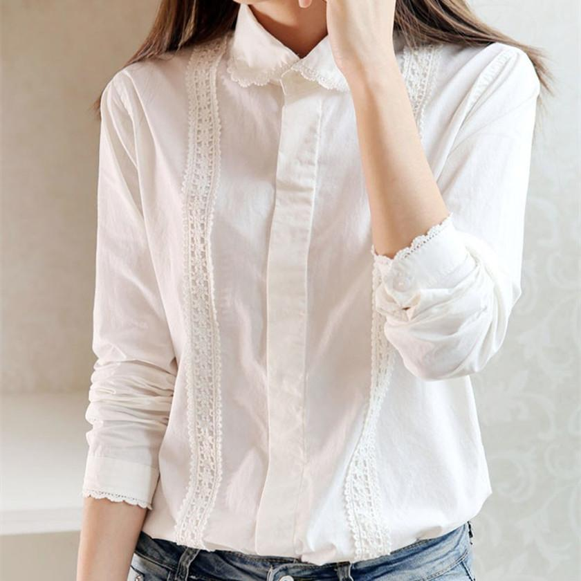 2017 White Blouse Women Work Wear Button Up Lace Turn Down Collar ...