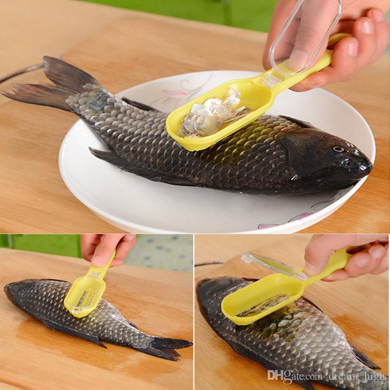 Ferramenta de cozinha Limpeza rápida Escalas de Pele de Peixe Scaler Escova Removedor Descascador Escala de barbear peixe-escala avião escalas de peixe flaker