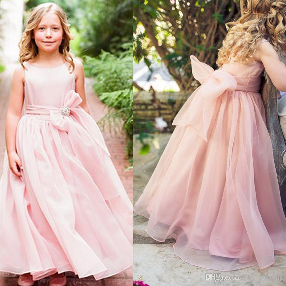 5270bd1b70c High Quality Organza Flower Girl Dresses For Weddings Floor Length Light  Pink Cheap Price Toddler Pageant Dress Graduation Gown Kids Monsoon Flower  Girl ...