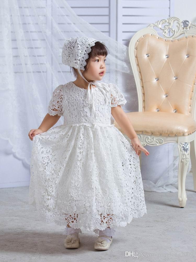 Au détail infantile bébé fille dentelle longue longueur robes robe de baptême tulle formelle premier anniversaire robe 0-30 mois E108