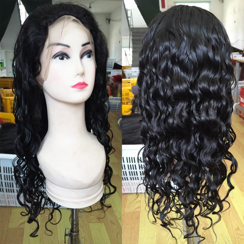 Top vendendo Indiano onda preço de fábrica de cabelo humano encaracolado perucas cheias do laço longo para as mulheres negras