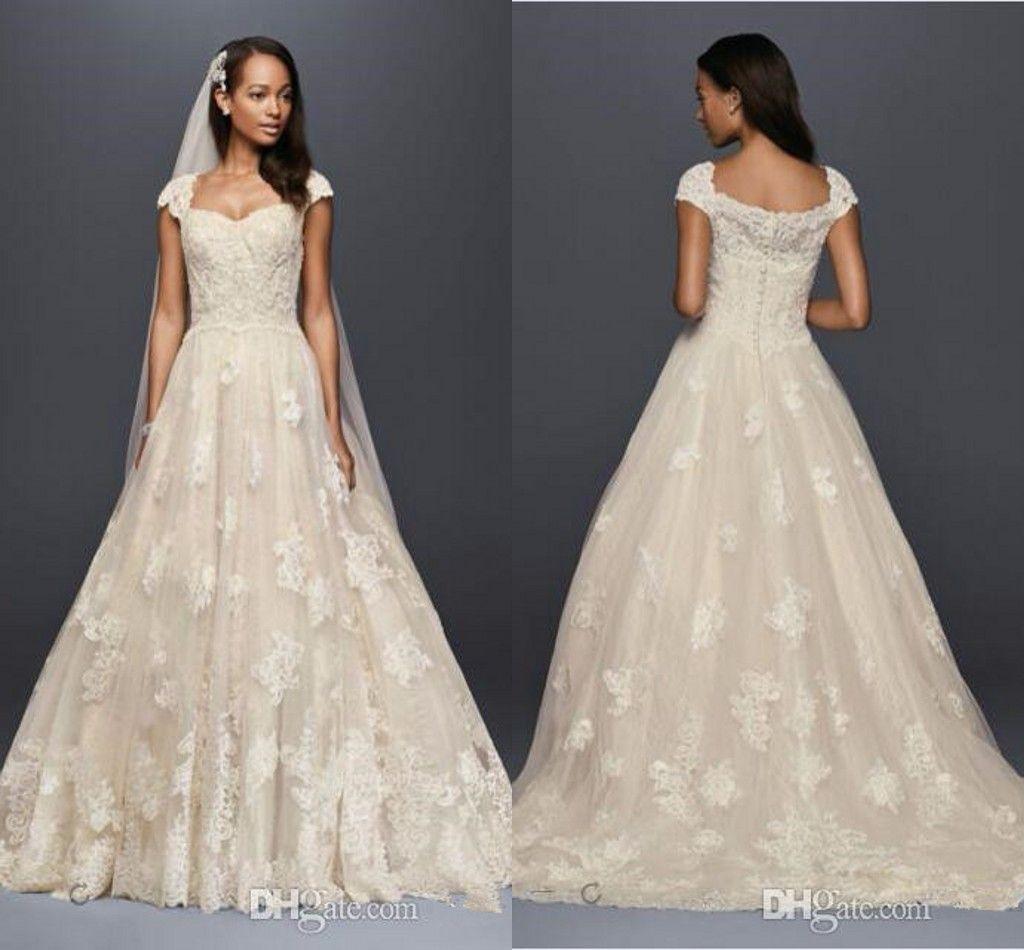 Oleg Cassini Vintage Cap Sleeve Wedding Dresses 2017 Modest Lace ...