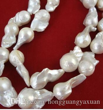 Naszyjnik z pereł 13-15 mm z nuklearnymi perełami barokowymi wadami skórą opłacalny dobry kształt