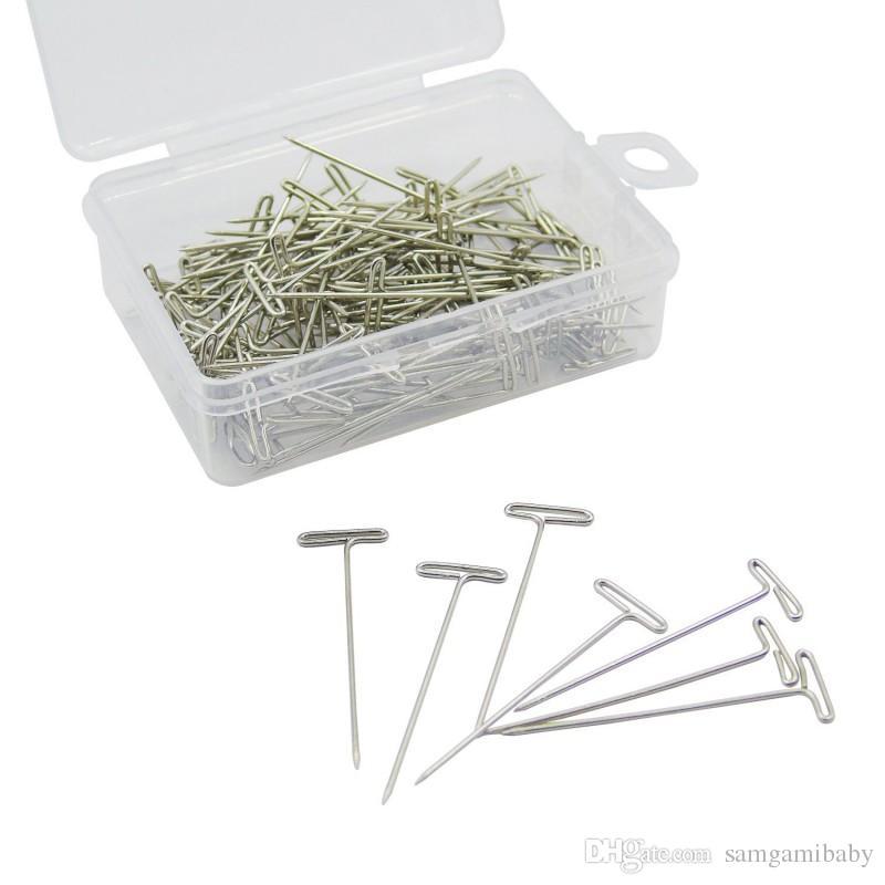 T-штыри стальные T-штыри с ящиком для хранения для блокировки вязания, моделирования и ремесел, серебристые, 2,8 см, 200 шт.