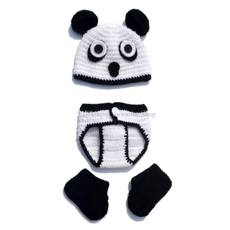 Cute Newborn Panda Costume,Handmade Knit Crochet Baby Boy Girl Animal Hat,Booties and Diaper Cover Set,Infant Toddler Halloween Photo Prop