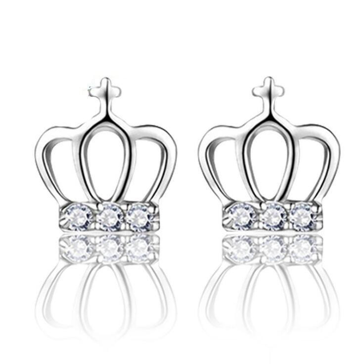 S925 Stamped silver plated crown earrings Crystal Royal Princess Stud pierce earrings for women girl lowest factory price ED041