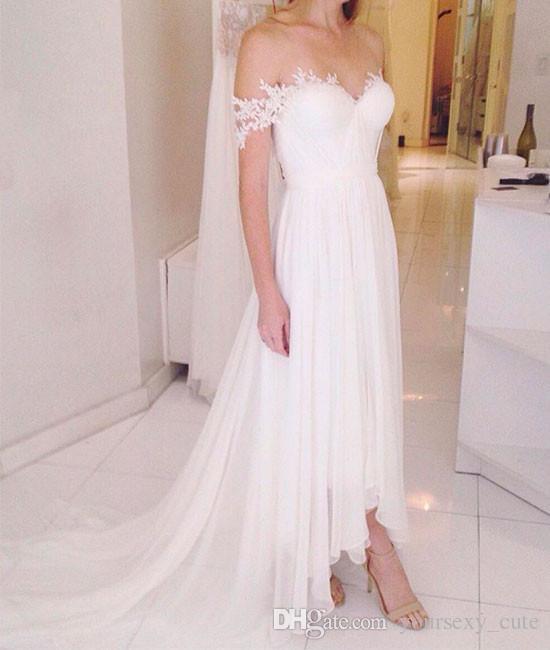 Robe de mariée en mousseline de soie fluide à l'épaule 2018 Sweetheart appliques plissées longueur de la cheville dos nu Plage robes de mariée Robe de mariée