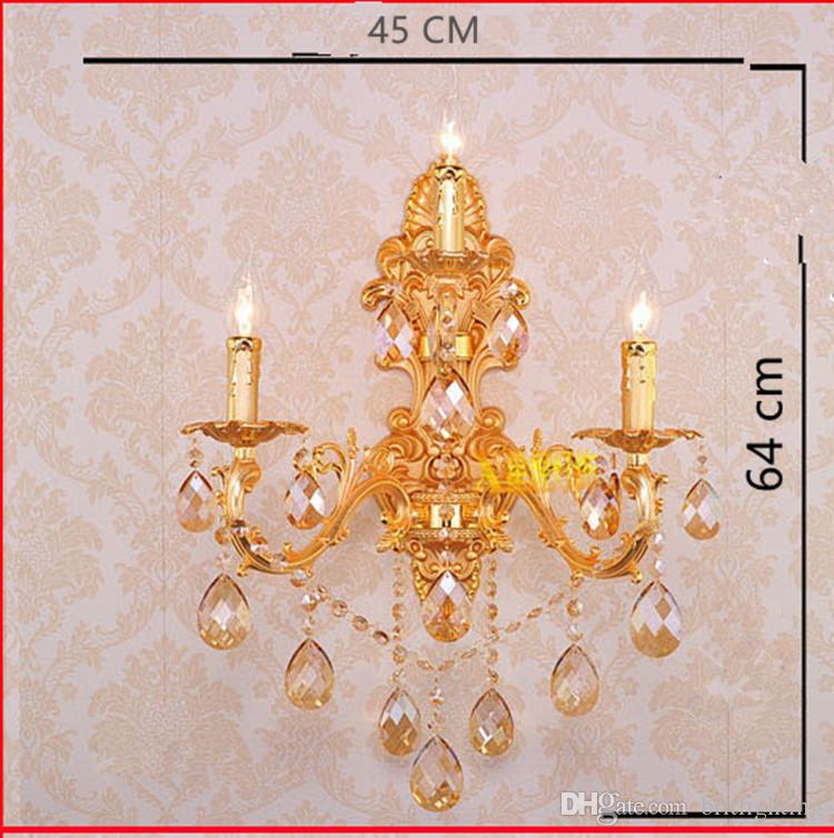 3 lights home Led Gold champagne crystal wall light dining large metal wall lamp sconce bedroom bathroom retro led mirror lamp