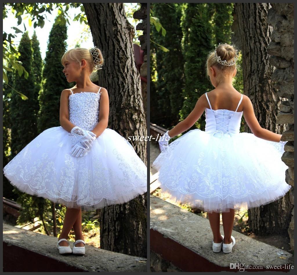 New 2017 White Toddler Flower Girl Dresses For Vintage Wedding Knee