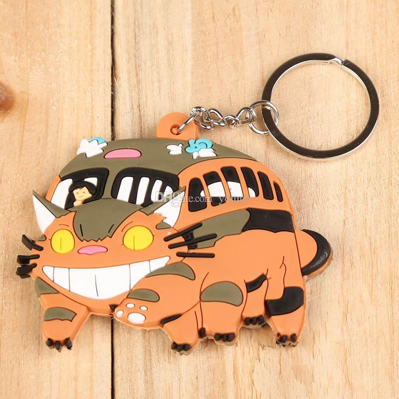 / 클래식 애니메이션 귀여운 이웃의 토토로 고양이 버스 PVC 피규어 키 체인 펜던트 완구 8cm 5 스타일