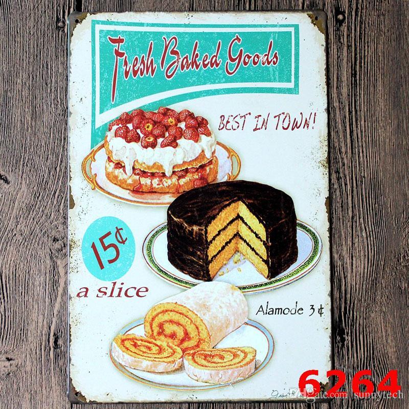 2018 vintage metal tin sign cake dessert hamburger europe for Plaque metal cuisine